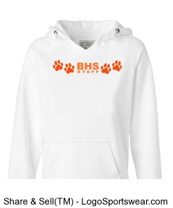 BHS Staff Four Paw White V-Neck Hoodie Design Zoom