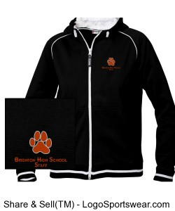 BHS Staff White Outlined Paw Zip Up Black Hoodie Design Zoom